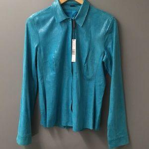 Elie Tahari Aqua Goat Leather Jacket Blouse Petra